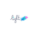 Light logo lettering with image of gradient feather