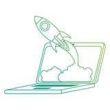 rocket start up in laptop - 218313861