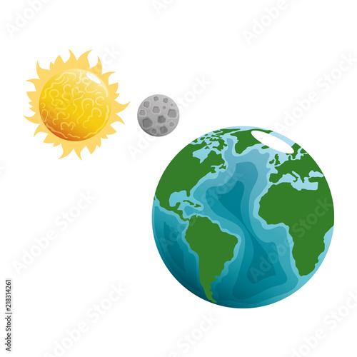 Fototapeta world planet earth with sun and moon