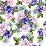 Beautiful watercolor pattern with peony flowers and succulents.   - 218316007