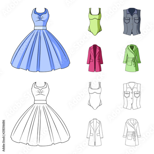 94494139b95 Women Clothing cartoon,outline icons in set collection for design ...