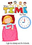 A girl go to sleep at 9 o'clock - 218317034