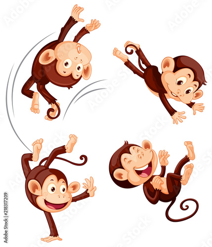 Canvas Kids A set of monkey on white background