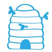 Handgezeichneter Bienestock In Blau Sticker