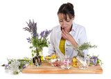 woman and essential oils - 218322002