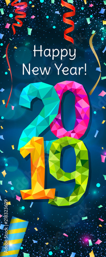 happy new year 2019 greeting vertical banner festive illustration with colorful confetti party popper