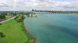 Belle Isle is an island in the Detroit River just up stream of the city of Detroit - 218324466