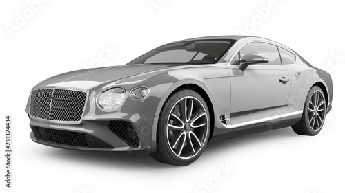 Luxury Sports Car Isolated on White - 218324434