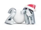 New Year 2019 golf ball, Santa's hat on a white background 3D illustration, 3D rendering
