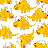 Cartoon of the dinosaur Eotriceratops decorative pattern on white background