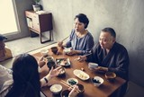 Japanese family eating at home - 218338251
