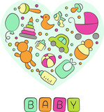 Baby. Newborn. Heart. Cute card in doodle and cartoon style. Vector. Card for printing, banner, photo album and other