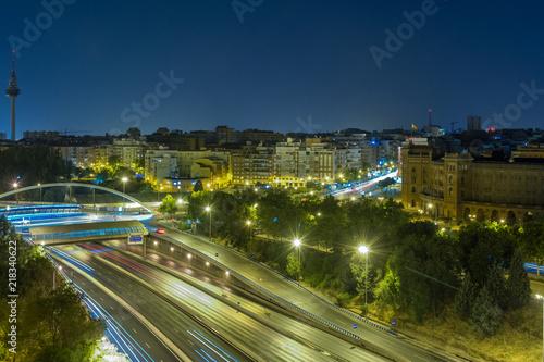 Fototapeta Madrid's M30 motorway near the Plaza de Ventas and Torrespaña