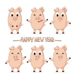 Little pigs and lettering Happy New Year