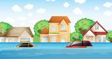 A flood disaster scene - 218363037