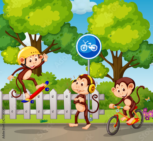 Canvas Kids A group of monkey and extreme sport