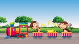 Monkey riding a train - 218363202