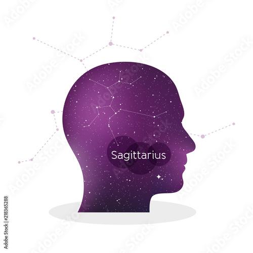 Sagittarius Zodiac Sign Man Portrait In Profile Horoscope Symbol