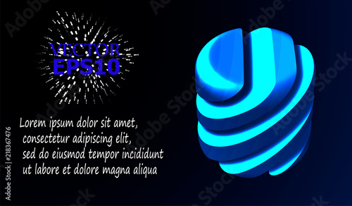 Abstract image of a geometric cut shape. Vector illustration