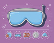 vr glasses icon with innovation and technology related icons around over purple background, colorful design. vector illustration