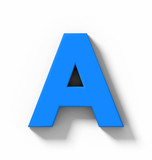 letter A 3D blue isolated on white with shadow - orthogonal projection - 218373478