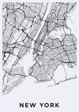 Light New York City map. Road map of New York (United States). Black and white (light) illustration of new york streets. Transport network of the Big Apple. Printable poster format (portrait). poster