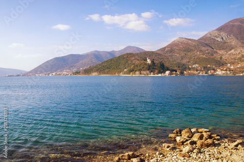 Canvas Blauwe hemel Beautiful Mediterranean landscape on sunny winter day. Montenegro, Bay of Kotor, Adriatic Sea