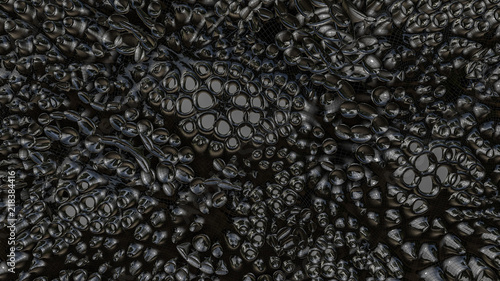 BLACK ABSTRACT THREE-DIMENSIONAL BACKGROUND. Glossary hole surface. 3d RENDERING - 218384416