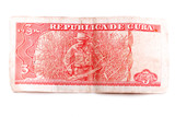 Rear of a Cuban banknote of three pesos depicting a worker in a sugar field on a white background