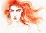 beautiful woman. fashion illustration. watercolor painting- 218395430