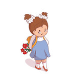 Cartoon girl with flower go to school. Vector illustration on a white background.