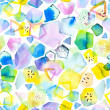 Seamless pattern with abstract geometric figures. Watercolor stains and shapes. Bright tropical, summer colors, yellow, blue  and green. - 218403498