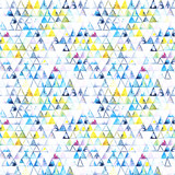 Seamless pattern with abstract geometric triangles. Watercolor spots, shapes, beautiful paint stains like cosmic nebula. Background for parties, holidays, birthdays. - 218404223