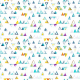 Seamless pattern with abstract geometric triangles. Watercolor spots, shapes, beautiful paint stains like cosmic nebula. Background for parties, holidays, birthdays. - 218404243
