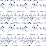 Seamless pattern with abstract geometric triangles. Watercolor spots, shapes, beautiful paint stains like cosmic nebula. Background for parties, holidays, birthdays. - 218404608