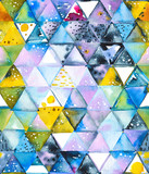 Seamless pattern with abstract geometric triangles. Watercolor spots, shapes, beautiful paint stains like cosmic nebula. Background for parties, holidays, birthdays. - 218404677