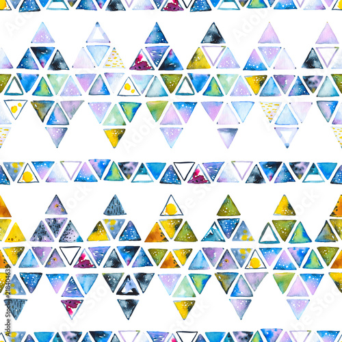 Seamless pattern with abstract geometric triangles. Watercolor spots, shapes, beautiful paint stains like cosmic nebula. Background for parties, holidays, birthdays. - 218404635