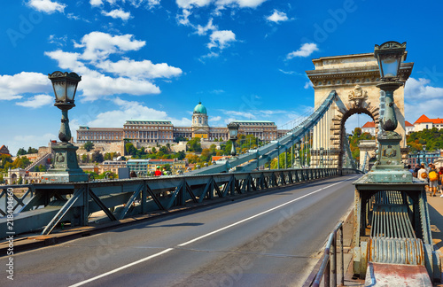 Chain bridge in Budapest, Hungary. View at Royal castle Buda