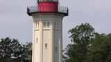 Observation tower. Lighthouse. Blue sky. Antenna,  Panning,Closeup,  - 218406495
