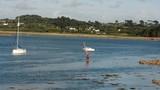 Un homme qui pratique la planche à voile en Bretagne - 218417251