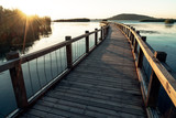 The wooden trestle along the lake
