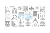 STEM vector horizontal banner in outline style - 218446803