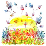 Watercolor postcard, card, illustration. With a picture of flowers, grasses, plants. silhouette field flowers, yellow sun. Poster on the topic of allergy, pollen, flowering.