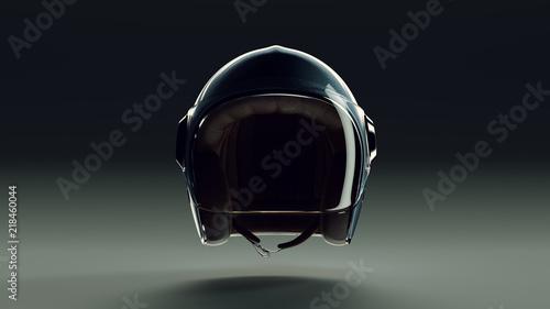 Blue Metallic Motorcycle Helmet with Visor Backlit Front View 3d illustration 3d render