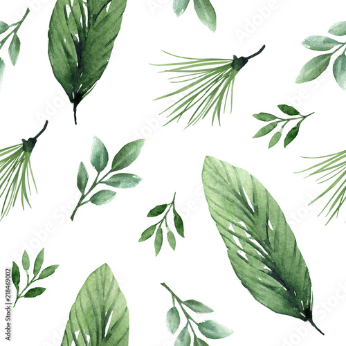 Seamless tropical pattern with palm leaves and branchese,hand drawn watercolor - 218469002