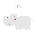 Cute cartoon hippopotamus. Kids graphic. Vector hand drawn illustration. - 218481044