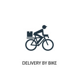 delivery by bike icon. Simple element illustration
