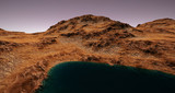 Extremely detailed and realistic high resolution 3d illustration of a Mars like Planet