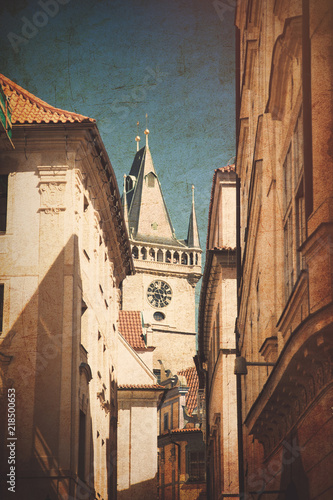 View at church in old town of Prague, Czech Republic. Image in old color style