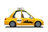 catoon yellow taxi